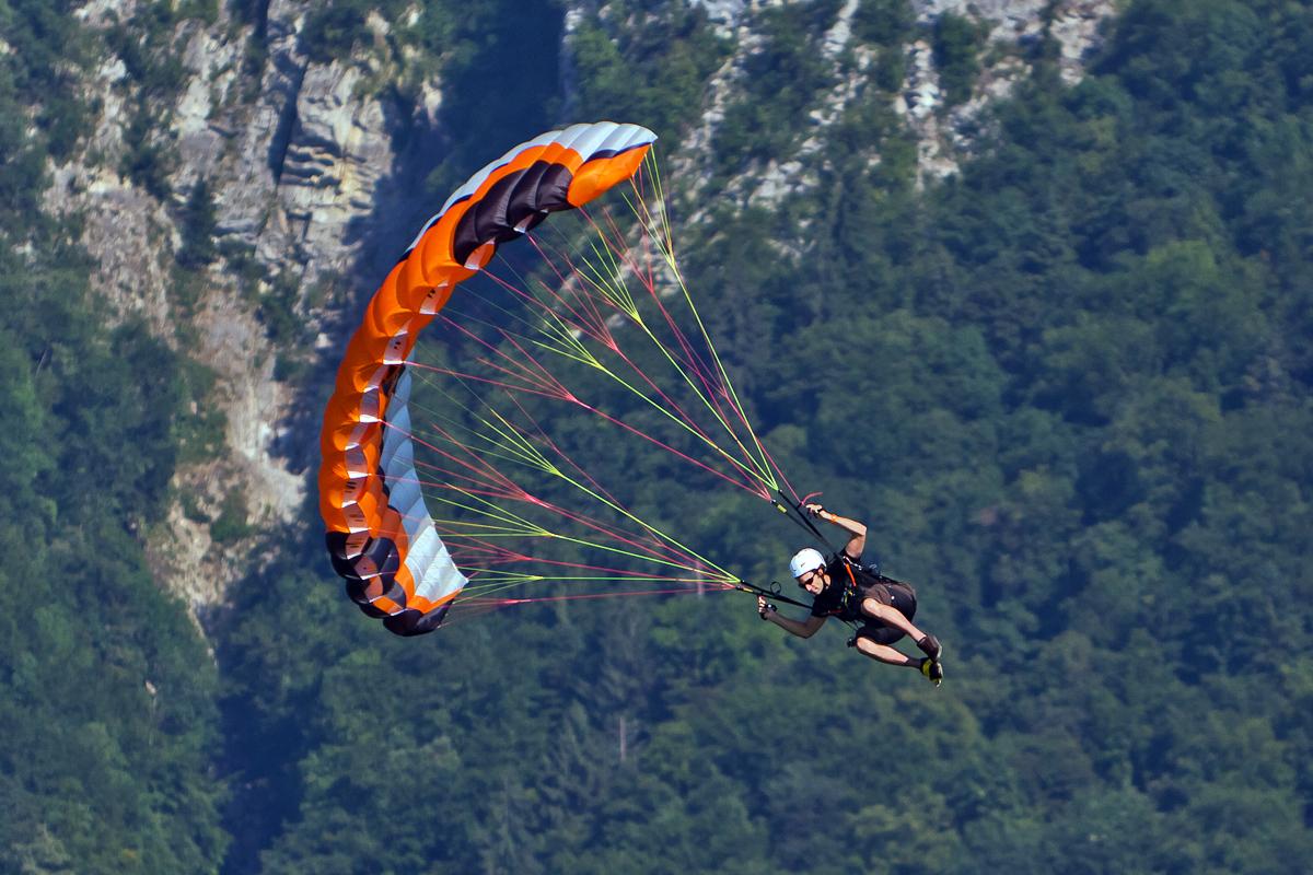 Approach-for-Landing-Paraglider-approaching-landing-area-at-the-Sonchaux-Acrobatic-show-Villeneuve-Switzerland-August-2010
