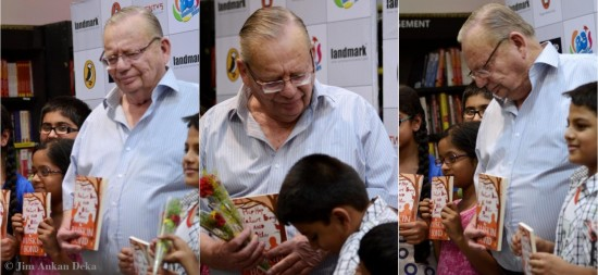 Ruskin Bond with children at Landmark (Photo: Jim Ankan)