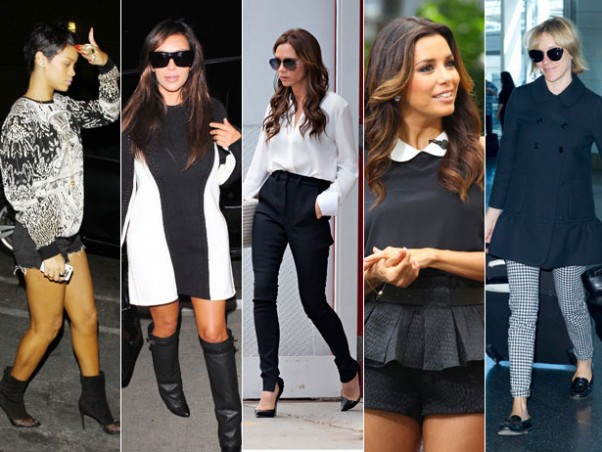 Many celebrities such as Rihanna, Victoria Beckham and Eva Longoria have been working the monochrome magic.  (Photo credit: Getty Images/ Splash News Online)