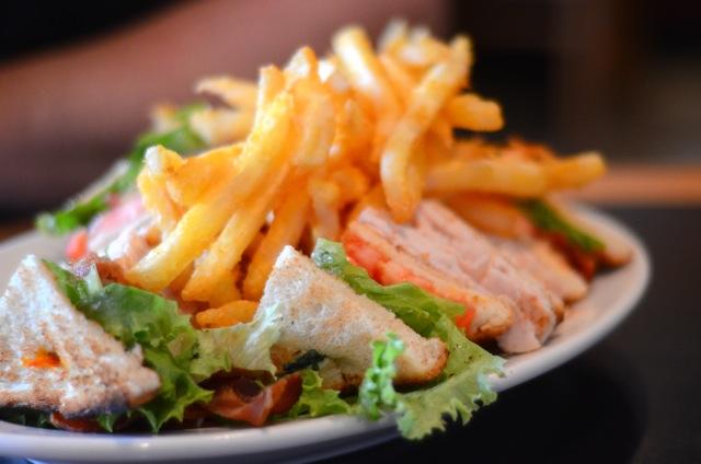 Turkey Club and Fries