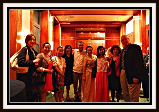 Jiaoyue Lyu with Musicians and Professors at Serene Moon Guqin Concert, Weill Recital Hall, Carnegie Hall, New York, on June 2, 2014.