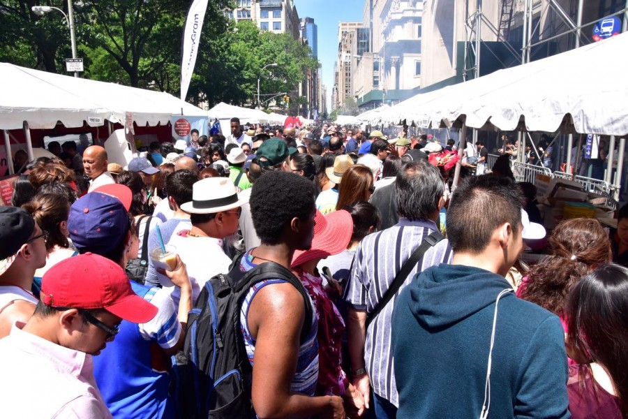As you can see from this photo, the street was narrow, booths on both side taking up much of the free space, so attendees had no room to move.